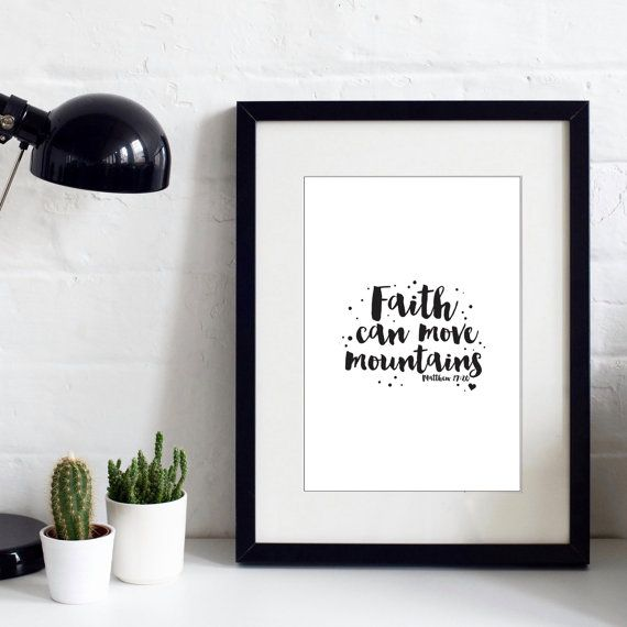 Faith Can Move Mountains  Typographic Print  by IzzyandPop on Etsy