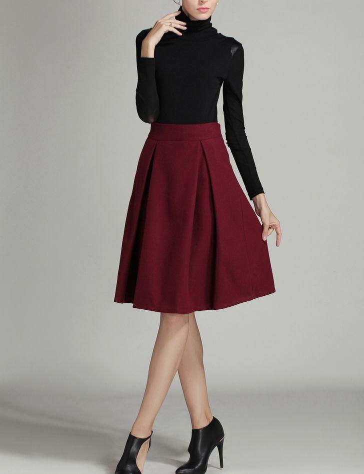 Midi-jupe en laine taille haute -bordeaux rouge-French SheIn(Sheinside)