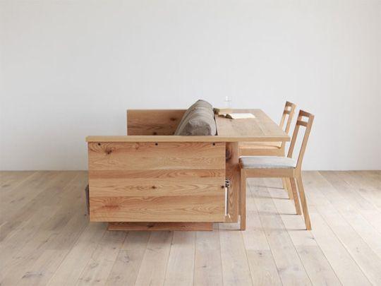 диван со спинкой которая функционирует как консоль (by Piano Isola).