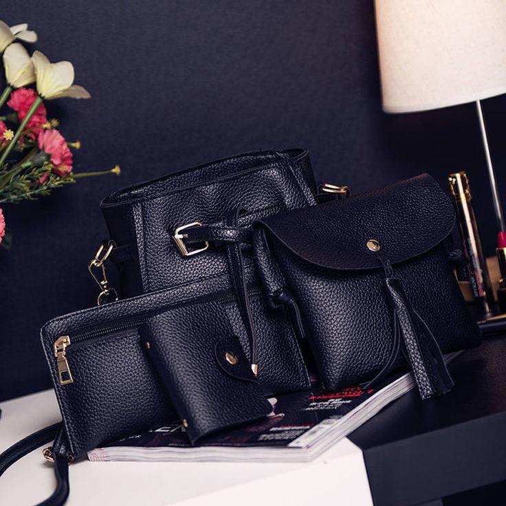 2017 New Women's Composite Bag Solid Casual Bucket Bag 4 Sets Tassel Shoulder Bag High Quality by Argyrostore on Etsy