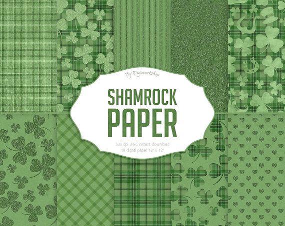 "#Green #Shamrock #Digital Paper - ""Shamrock Papers"" instant download st. patrick's papers, shamrock pattern, green digital paper, irish paper  Collection of 10 digital papers ... #etsy #digiworkshop #scrapbooking #illustration #creative #clipart #printables #cardmaking #green #irish #digital #shamrock"