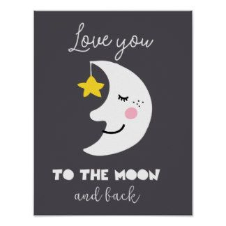 Cute Nursery Love You To The Moon Poster