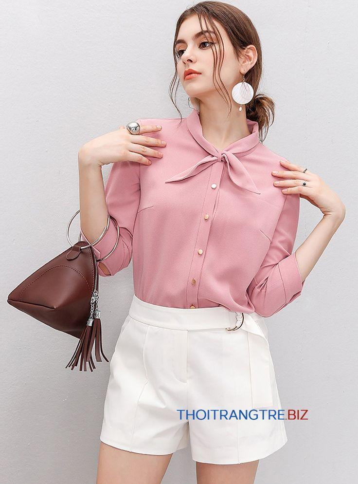 LS656 Sơ mi nữ màu hồng tay lỡ 2017