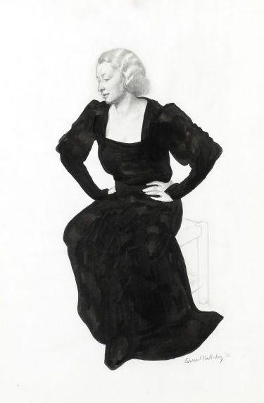 #Edward #Irvine #Halliday #Portrait of a #woman seated, three quarter view, #black #evening #dress 1935  #Gouache over #pencil #modern #art #British #Britishart #LLFA