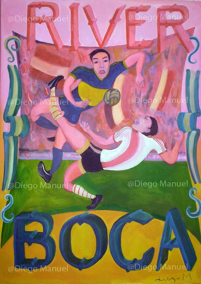 River Boca -  (Clasicos de futbol argentino), acrylic on canvas, 98 x 70 cm.- 2006-. Price of original painting $1800.  (lbk)
