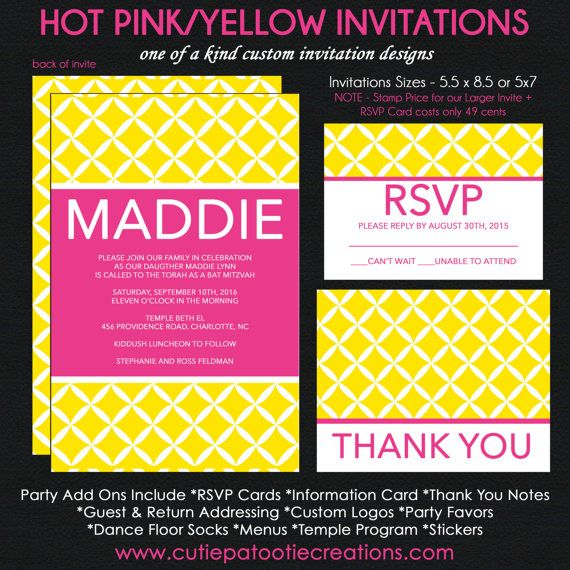 Modern Bat Mitzvah Invitations Hot Pink and by OneWhimsyChick