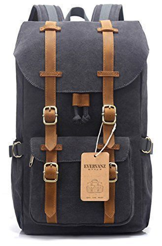EverVanz Outdoor Canvas Leather Backpack Travel Hiking Camping Rucksack  #EverVanz