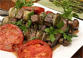LouAna Grilled Beef Kabobs in a Roasted Garlic Tarragon Butter Sauce