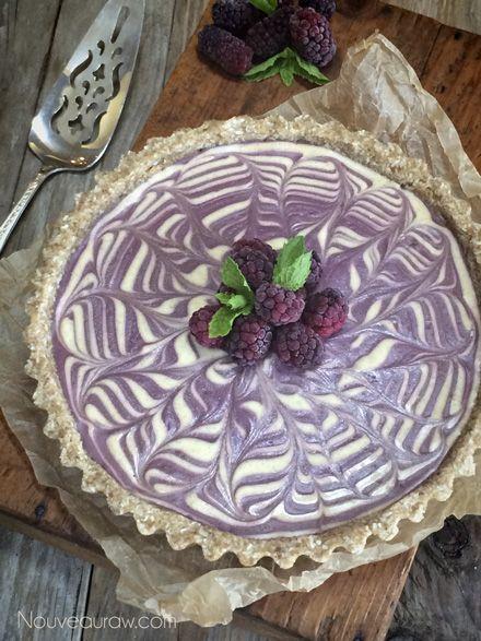 Raw Vanilla Bean and Blackberry Zebra Cheesecake