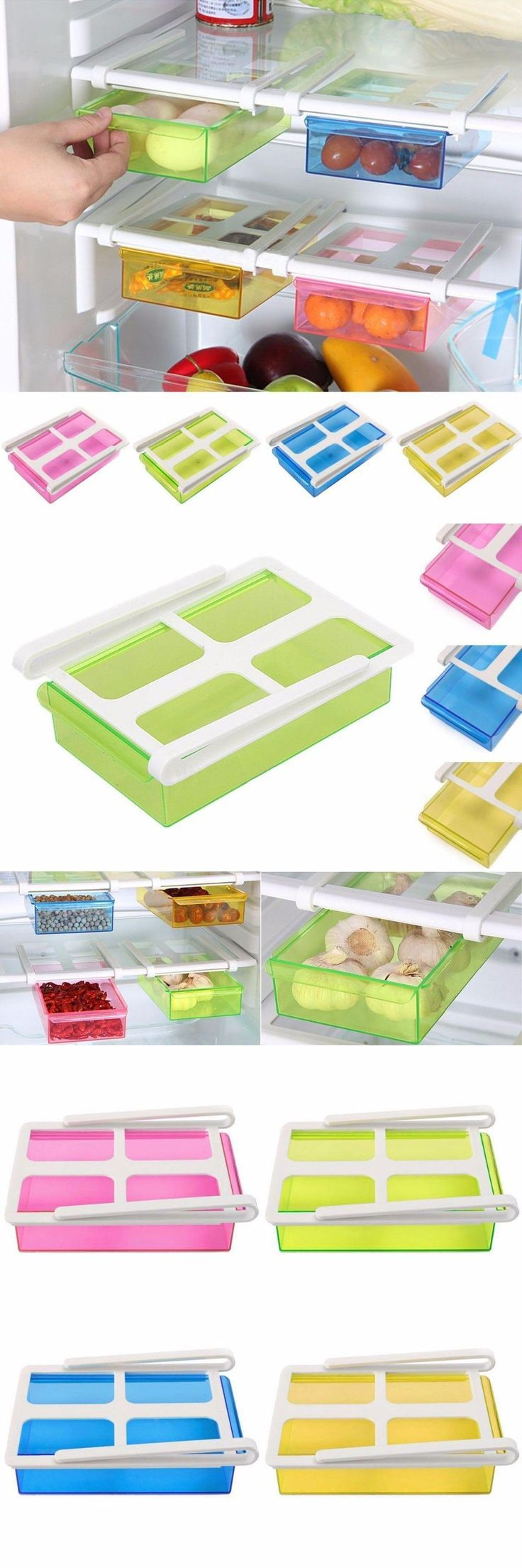 [Visit to Buy] New Arrival Slide Kitchen Fridge Freezer Space Saver Organizer Storage Rack Shelf Holder Tool 4Color #Advertisement