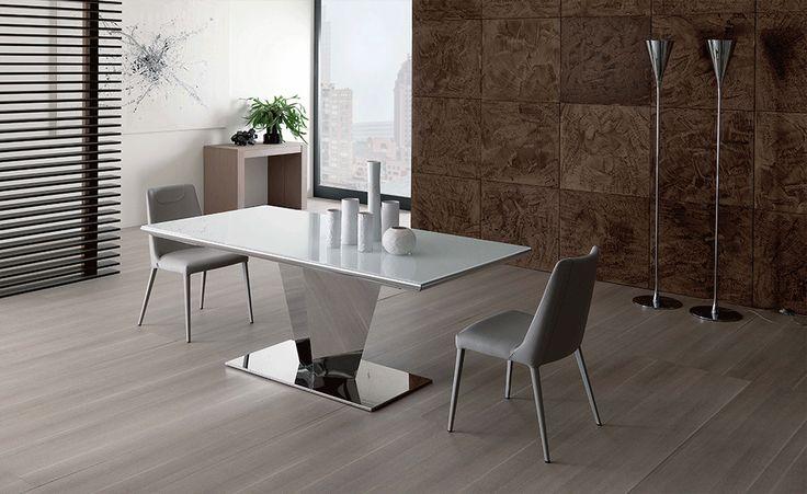 Ausziehbarer Tisch Diamante Weiss Hochglanz Glas