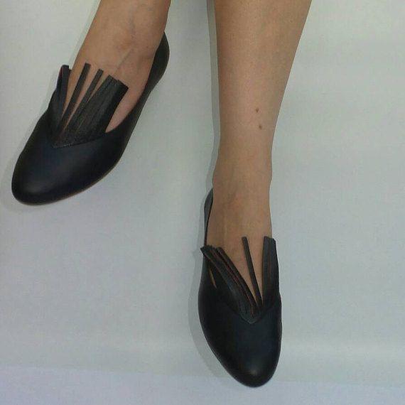 Zwarte schoenen Fringe zwarte flats zwart door LoulouBallerina