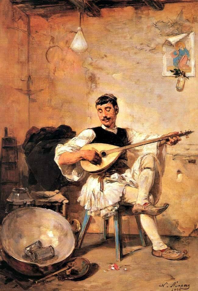 ο μουσικός «Γαλατάς» του Νικηφόρου Λύτρα (1895), με τη φουστανέλα και το «λαγουτοειδές» μπουζούκι του