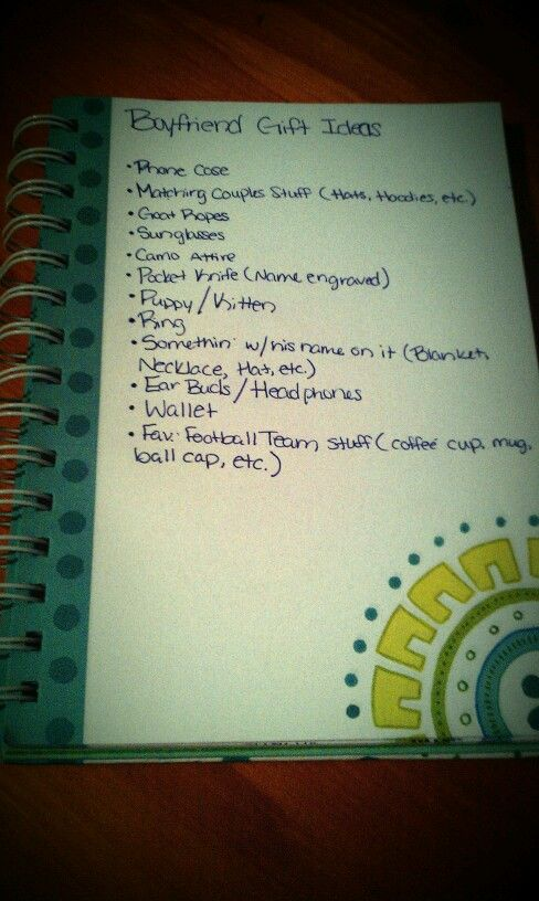 Boyfriend Gift Ideas for them country boys! I actually wrote these out myself.. -Jordan Squire-