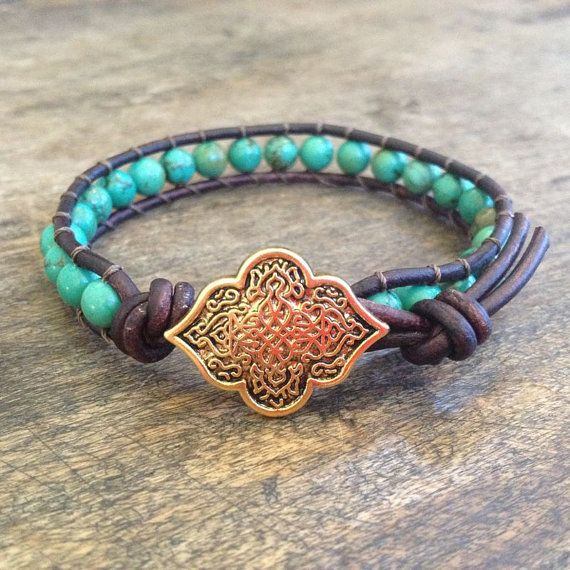 """Turquoise, Gold Trianon Knotted Leather Wrap Bracelet """"Boho Chic"""""""