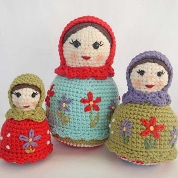 Crochet Doll Pattern for Amigurumi Matryoshka Dolls, Russian Nesting Dolls PDF…