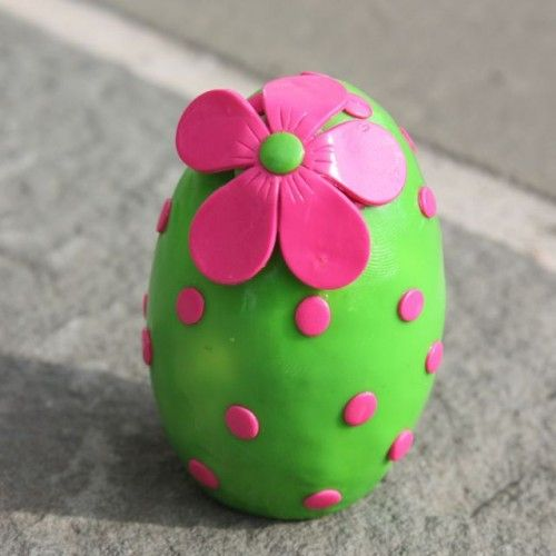 Wooden covered Polymer Clay Easter Egg on ArtFire