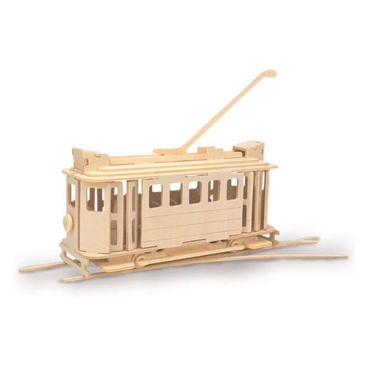 San Fransisco tram houten bouwpakket tram - Geschikt om te verven!
