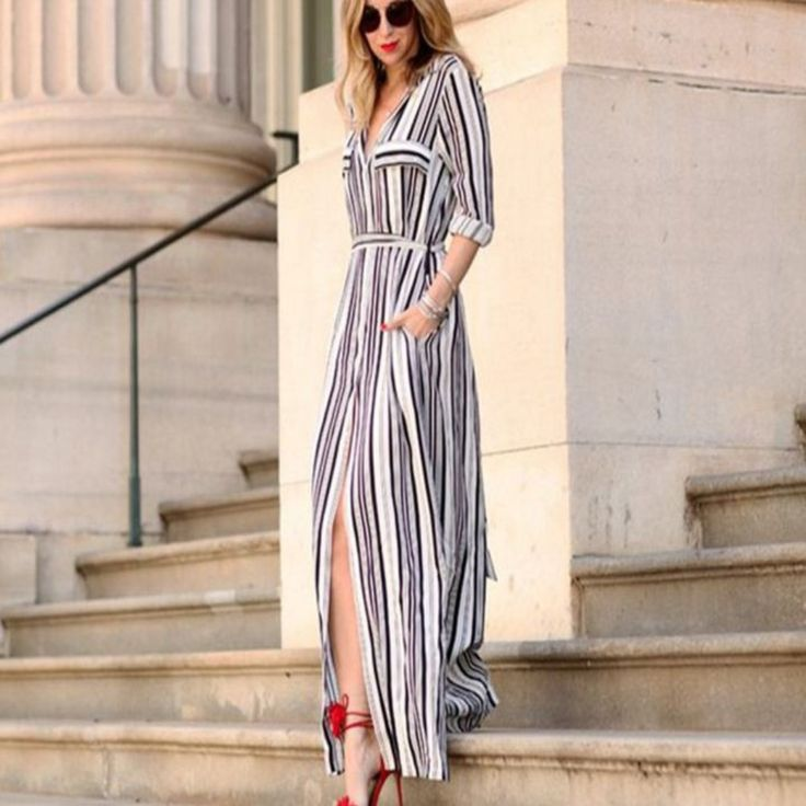Long Stripe Womens Maxi Dress | Daisy Dress for Less | Women's Dresses & Accessories