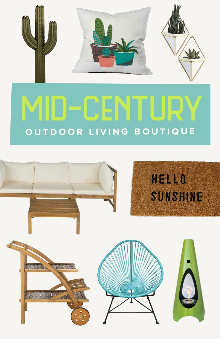 Mid-Century Outdoor Living: Let's get excited for spring with our favorite mid-century looks in a brighter hue. Perfect for patio or poolside entertaining, these iconic designs are introduced in light teak woods and durable fabrics. We've got everything you need to throw your famous backyard bash, including atomic cocktail glasses, chaise lounge chairs, and a fun home bar! Shop Now at dotandbo.com!