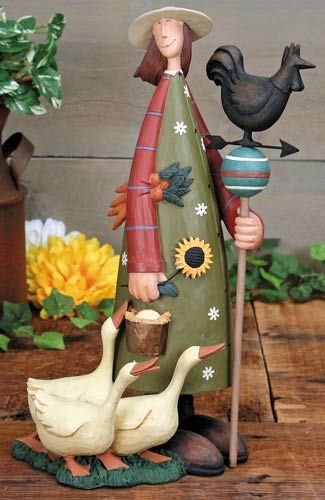 Lady With Geese and Weather Vane Figurine – Everyday Folk Art Figurines & Collectibles – Williraye Studio $47.50
