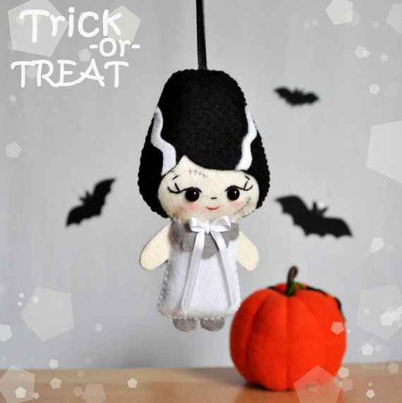 Ornament Halloween bride of Frankenstein felt by MyMagicFelt