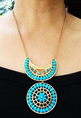 gold and blue ethnic necklace