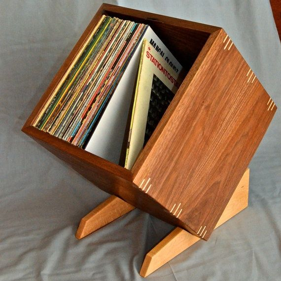 Solid Walnut Record / Album Storage / Display Box with Birdseye Maple Stand and Accents