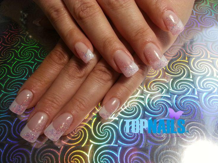 Uñas Acrílicas Francesas con decorado en Gel Glitter (Acrylic Nails decorated in French with Glitter Gel) Agregarme a tus amigas de Facebook para más información. https://www.facebook.com/topnails.acrilicas www.topnails.cl Cel:94243426, saludos Beatriz  #uñas #ArtNails #Manicure #Fashion #Nails #Brides #Esmaltes #decorado #acrilicas #nailart #Glamour #Belleza #Moda #Ñuñoa #matrimonio #cupido #novia #French #Acrylic #love #Glitter