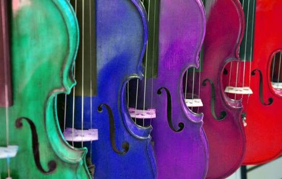 All colored violins of the rainbow | Violins | Pinterest ...