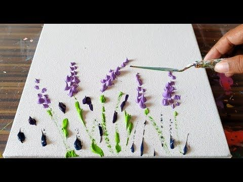 Lavender Field / Simple Flower Arrangement / Abstract Painting Demonstration / Project 365 days / day No. 0362 – YouTube
