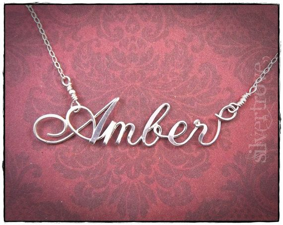 Sterling Silver Calligraphy Script Name Necklace, Personalized With Handmade Clasp