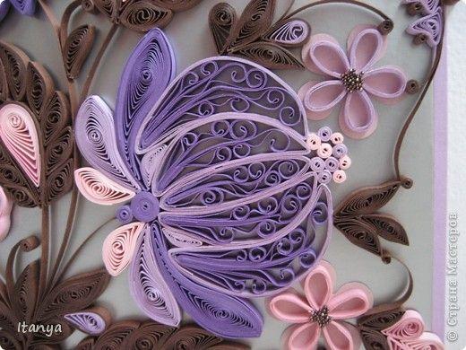 Картина панно рисунок Квиллинг Шоколадно-сиреневое панно Бумажные полосы Картон Клей фото 6