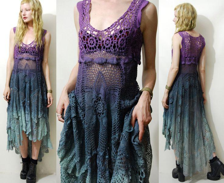 CROCHET Dress Ombre Vintage Cotton Lace Long Tie by cruxandcrow
