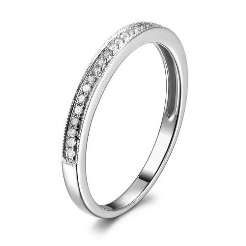 Milgrain Solid 14K White Gold 0.17ctw Round Cut Diamonds Half Eternity Band Wedding Ring, http://www.amazon.com/dp/B00F4MAJ3C/ref=cm_sw_r_pi_awdm_-rsYvb12BVVJ1