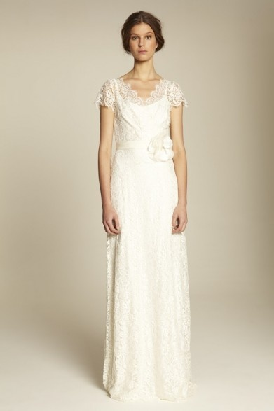 Collette Dinnigan French Vanilla Lace Short Sleeve Bridal Gown