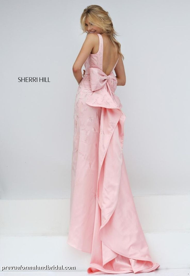 Sherri hill low back prom dress prom dress with low back for Open back bow wedding dress