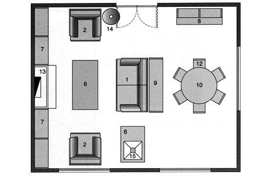 Appuyé contre une console, le canapé sépare le salon de l'espace repas  Photo : Editions Le Moniteur  1. Canapé / 2. Fauteuil / 3. Fauteuil et pouf / 4. Chauffeuse / 5. Chauffeuse d'angle / 6. Table basse / 7. Bibliothèque / 8. Vaisseler / 9. Console / 10. Table de repas / 11. Bureau / 12. Chaise / 13. Cheminée / 14. Lampadaire / 15. Lampe