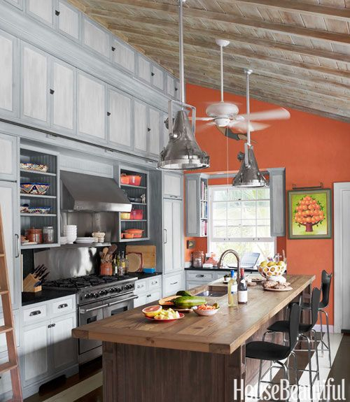 28 colorful kitchens that will inspire you coral walls for Pictures suitable for kitchen walls