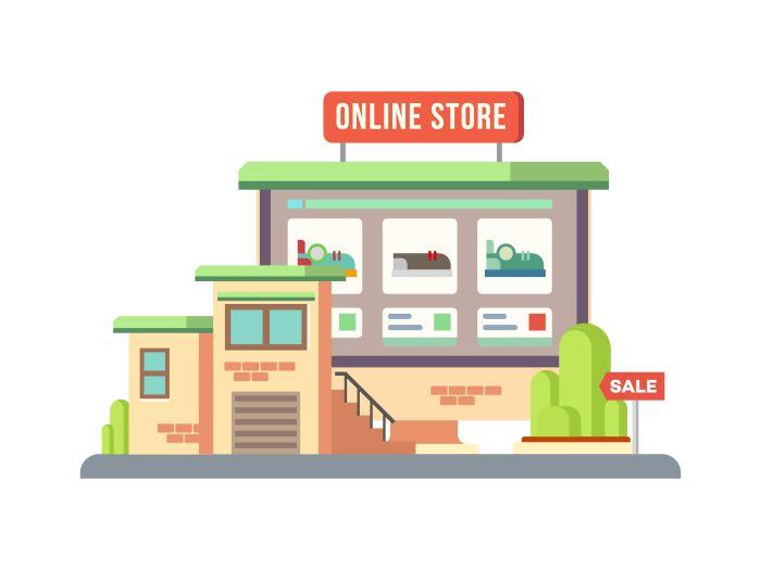 Online Shop Building vector concept flat illustration.Vector files, fully editable.