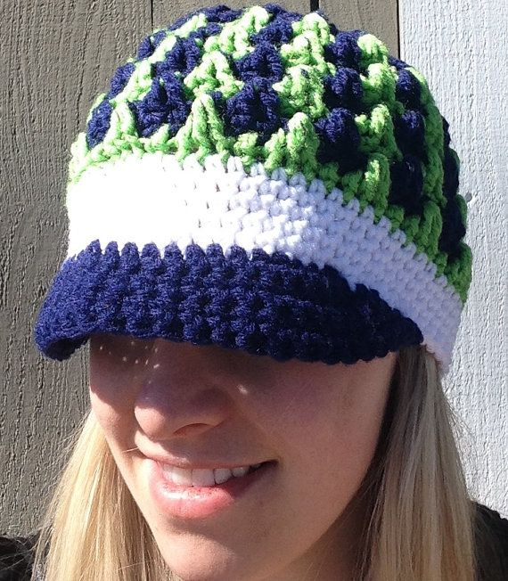 Seattle Seahawks Inspired Billed Hat/Beanie by CavemanMomma