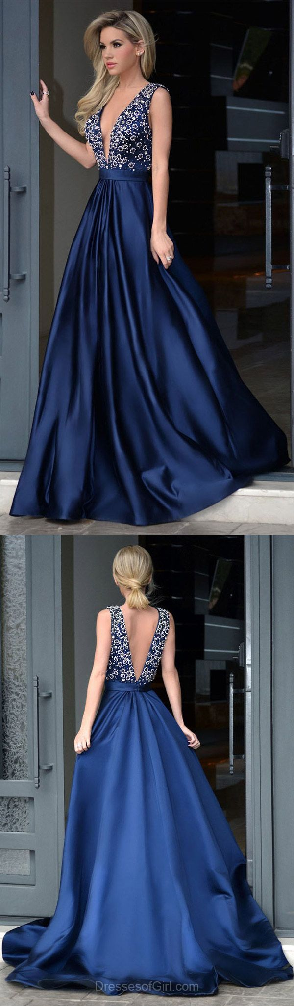A-line V-neck Satin Sweep Train Beading Royal Blue Backless Amazing Prom Dresses