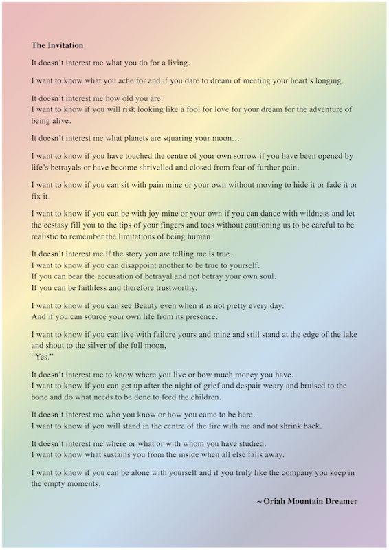 The 25 Best The Invitation Poem Ideas On Pinterest Women Poetry