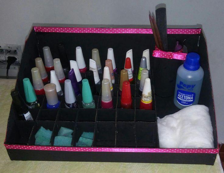 Organizador para esmaltes de caixa de sapato!
