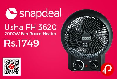 Snapdeal #DealsofTheDay is offering Usha FH 3620 2000W Fan Room Heater at Rs.1749 Only. ISI Mark, 2 Heating Position, 1200 watt and 2000 watt, 3 Power Modes: Cool wind, low heat and high heat, Special Heating wire element, Adjustable thermostat, Overheating protection, Safety tip over switch. 12 Months Warranty Period.  http://www.paisebachaoindia.com/usha-fh-3620-2000w-fan-room-heater-at-rs-1749-only-snapdeal/