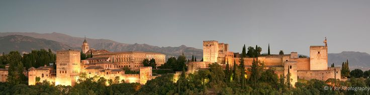 View of Alhambra at Dusk from St Nicholas Church
