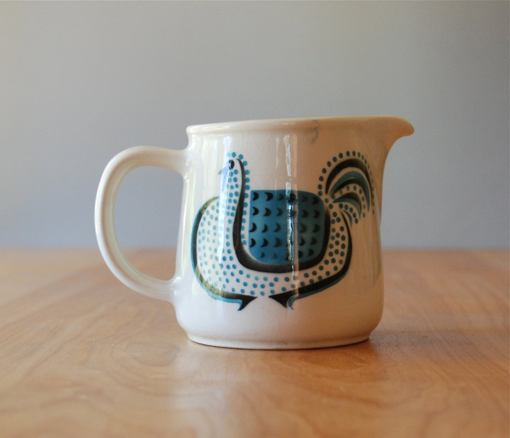 Vintage Arabia of Finland Small Jug or Creamer -  Blue Chicken. $78.00, via Etsy.