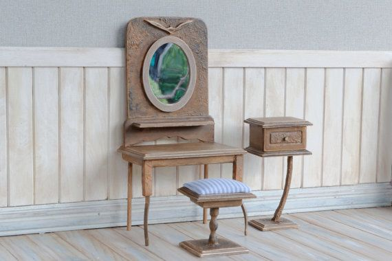 Handmade Dressing Table with Stool and Side Table by DollboxStore