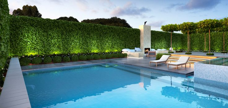Love tight  hedging around the pool