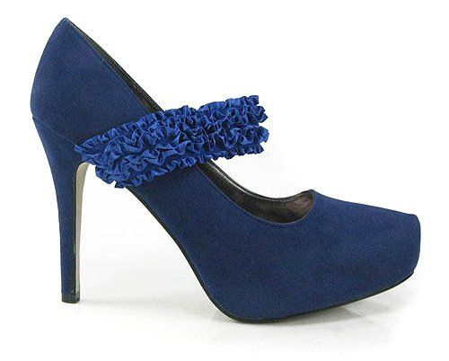 Blue Ruffled Faux Suede Maryjane Stiletto Pump   Sell Cheap Shoes